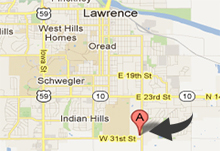 Map to Lawrence Kansas to the Eagle Trailer Company