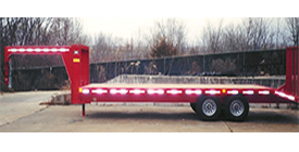 Eagle Custom Trailer Details: Gooseneck Deck Over trailer, 8.5x25, 20' flat plus a 5' dovetail with a 10,000# rated full width gate. 16,000# G.V.W. - Eagle Trailer Company, Lawrence, Kansas